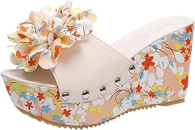 HIRIRI Ladies Summer Solid Color Wedges Slip-On Flower Flip Flops Casual Beach High Heel Platform Slippers