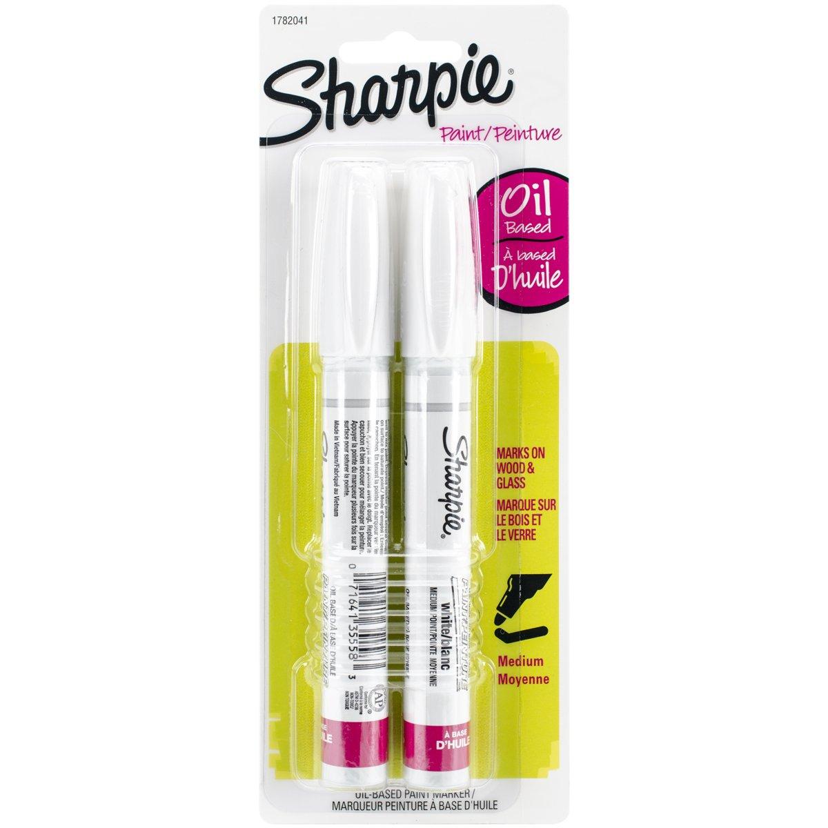 Sharpie Medium Point Oil-Based Opaque Paint Markers 2/Pkg-White Sanford 33024341