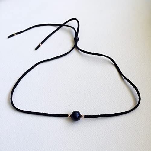 Amazoncom Black Pearl Choker Necklace Black Suede Rose Gold