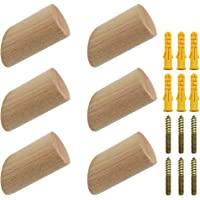 NewZC 6 stuks houten kledinghaken, natuurlijk hout, wandhaken, 3 x 6 cm, beukenhaken, 45 graden, ophanghaak voor kleding…