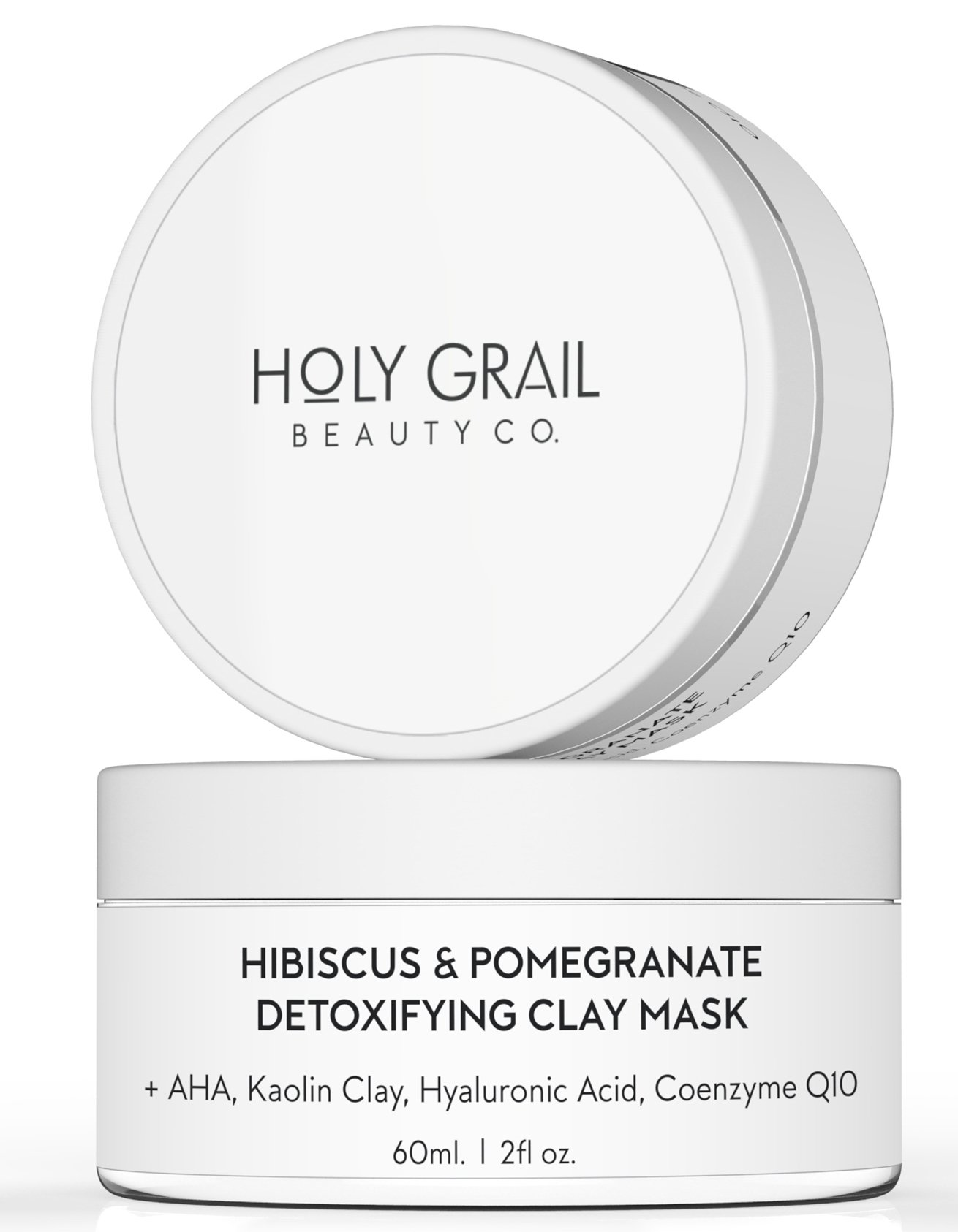 Kaolin Clay Hydrating Face Mask with Exfoliating Glycolic Acid for Blackheads, Acne & Large Pores. 70% Organic Moisturizing Face Mask by Holy Grail Beauty