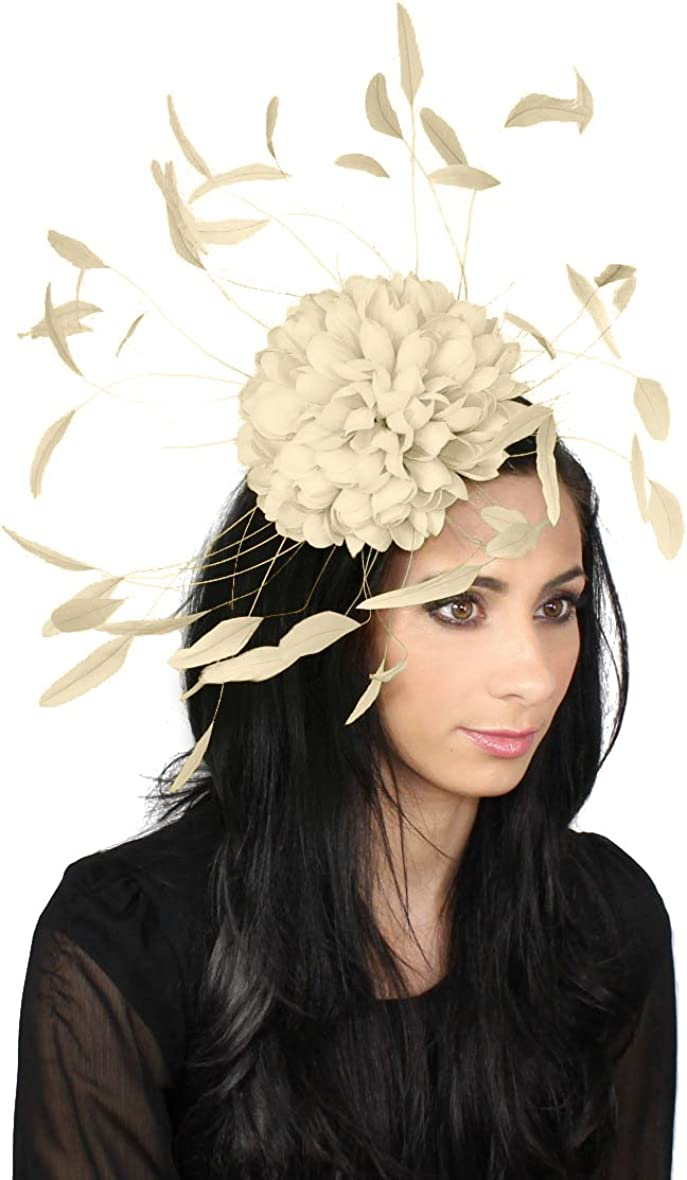 Hats By Cressida Womens Occasion Maafushi Brown Beige /& Cream Feather Ladies Wedding Kentucky Derby Fascinator