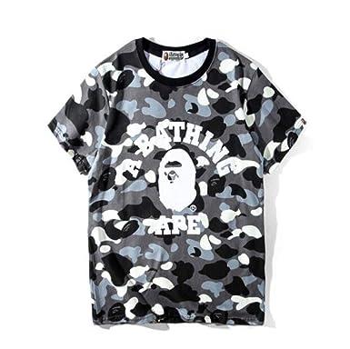 fdf566116f78 Mulynn Fashion Bape Camo Letter Printed Crew Neck Short Sleeve T-Shirt for  Men Women