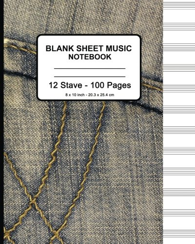 Sheet Music Cover (Blank Sheet Music Notebook - Faux Jeans: 8