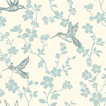 Coloroll Floral Colibri Papier Peint Bleu Canard Amazon Fr Bricolage