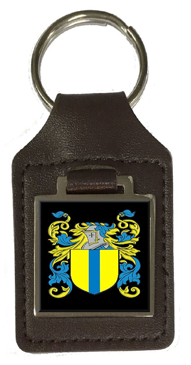 Frizzell Family Crest Surname Coat Of Arms Brown Leather Keyring Engraved
