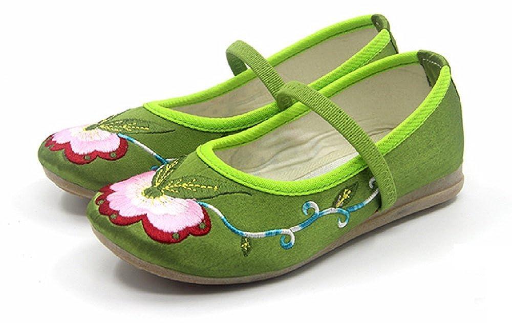 Tianrui Crown Children Girls Embroidery Mary-Jane Shoes Kids Cute Flat Cheongsam Shoe