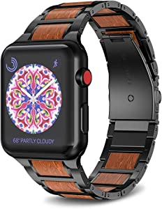 NotoCity Compatible with Apple Watch band 38mm 40mm Stainless Steel Natural Wooden Red Sandalwood Watch Strap for Men Women(Black)
