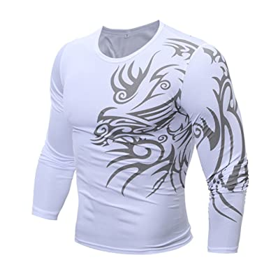Camiseta de Camuflaje Blusa Superior de Manga Larga Moda Corta Delgada Ocasional de los Hombres Kinlene Hombres Camisa
