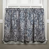 Ellis Curtain Floating Leaves Tailored Tiers, 68″ x 24″, Blue For Sale