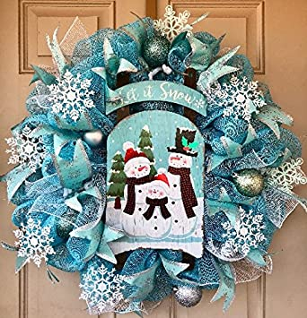 let it snow sleigh christmas wreath in gorgeous mint green and turquoise colors