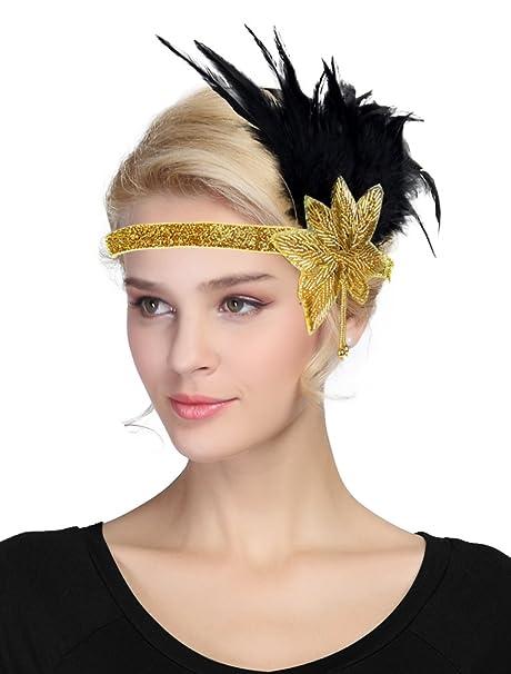 da4e7b6b70d22 EEVASS 1920s Flapper Headband Fascia Charleston con Piuma Fascia Capelli Vintage  Gatsby (Oro)  Amazon.it  Abbigliamento