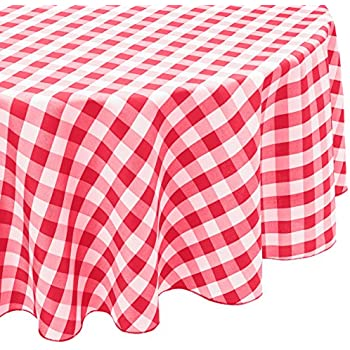 LinenTablecloth 70 Inch Round Polyester Tablecloth Red U0026 White Checker