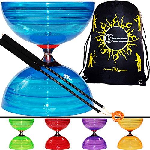Sundia Shining Series Triple Bearing Diabolo + Henry Fibreglass Handsticks + Travel Bag! Wide Clutch Triple Bearing Axle Spinning Diablo! (Red Diabolo/Black Handsticks) by Sundia / Flames N Games (Image #9)