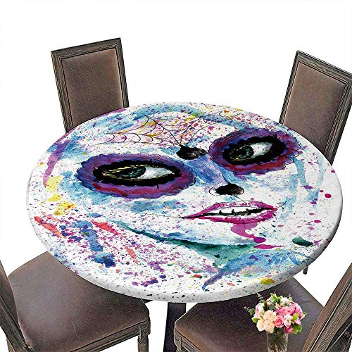 PINAFORE Simple Modern Round Table Halloween Girl with Sugar Skull Makeup Watercolor for Daily use, Wedding, Restaurant 31.5