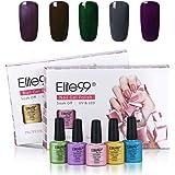 Elite99 Nail Gel Polish Kit 7.3ML Soak Off UV LED Gel Nail Varnish Gloss Manicure Lacquer 5 Colours Set Nail Art Starter Kit Salon Decor Gift Set