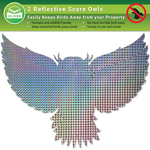 Owl Decoy Bird Repellent [Stop Woodpeckers, Pigeons] Keep Away Pests with Outdoor Repeller Device in Garden or Yard [Scares Many Animals] Works with Tape, Spikes, Ultrasonic and Spray Control Products