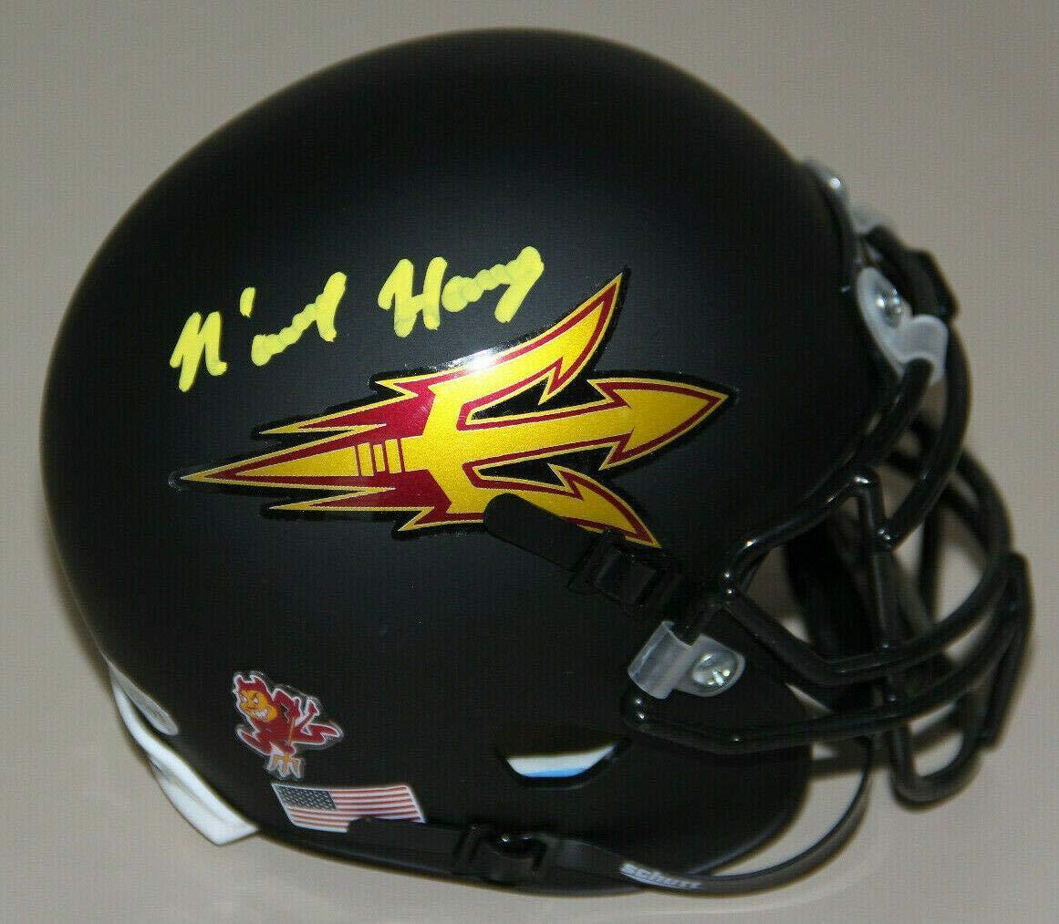 NKeal Harry Autographed Arizona State Chrome Mini Helmet Beckett Auth Yellow