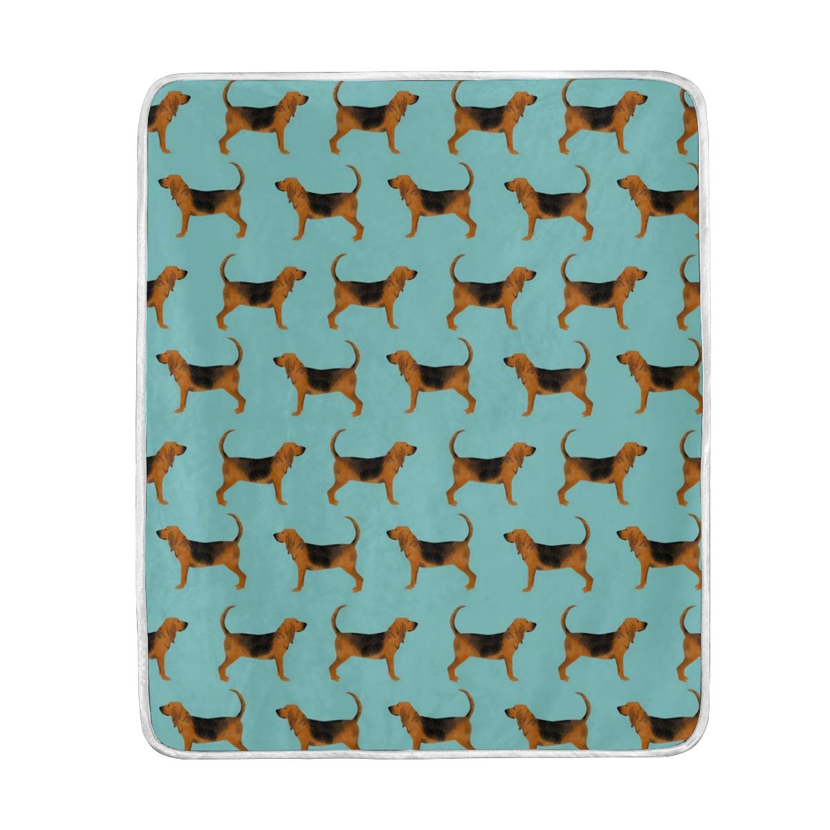 FannyMT Bloodhound Dog Mint Blanket Throw Lightweight Cozy Plush Microfiber Solid Blankets for Kids Adults, 60 x 50 Inch