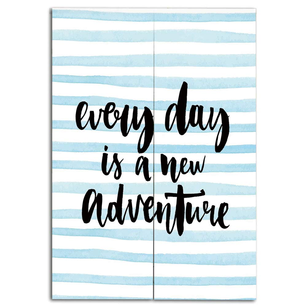 Door Curtain(Two Panels) Custom,Adventure,Every Day is a New Adventure Quote Inspirational Things About Life Artwork,Baby Blue Black,Individualization,W39.4 xH66.9