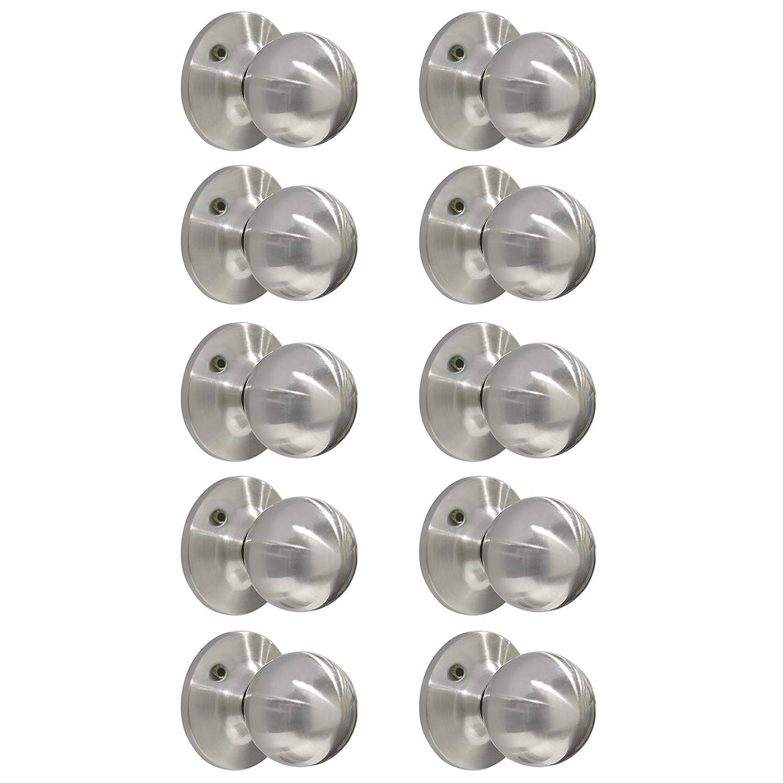 Probrico Passage Keyless Door Lock Set Stainless Steel Interior Door Knob Tulip Style Satin Nickel 5 PCS