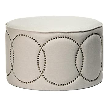 Marvelous Amazon Com Kathy Kuo Home Modern Classic Round Linen Nail Alphanode Cool Chair Designs And Ideas Alphanodeonline