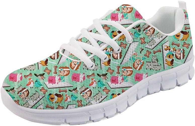 Coloranimal - Zapatillas de deporte planas para mujer, para correr y andar, primavera-verano, con estampado de dibujos animados, color, talla 39 EU: Amazon.es: Zapatos y complementos
