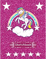 Sketchbook: Cute Unicorn and Pink Glitter Effect Background Cover, Large Blank page Sketchbook For Girls & Kids.
