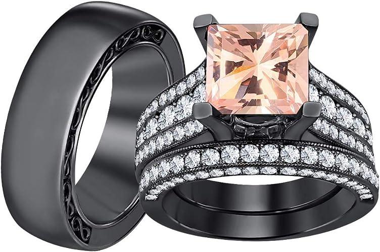 Sunbu Black Gold Plated Princess Purple Amethyst Cut Cubic Zirconia Wedding Bridal Ring