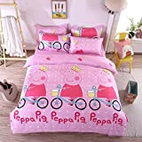 KFZ Bed SET Beddingset Duvet Cover Set Duvet Cover No Comforter Flat Sheet Pillowcases 4pcs Footprint Peppa Pig Lover Cat Tree Design KSN Twin Size for Kid Sheet Sets(Princess Pig, Pink, Twin,59''x78'')