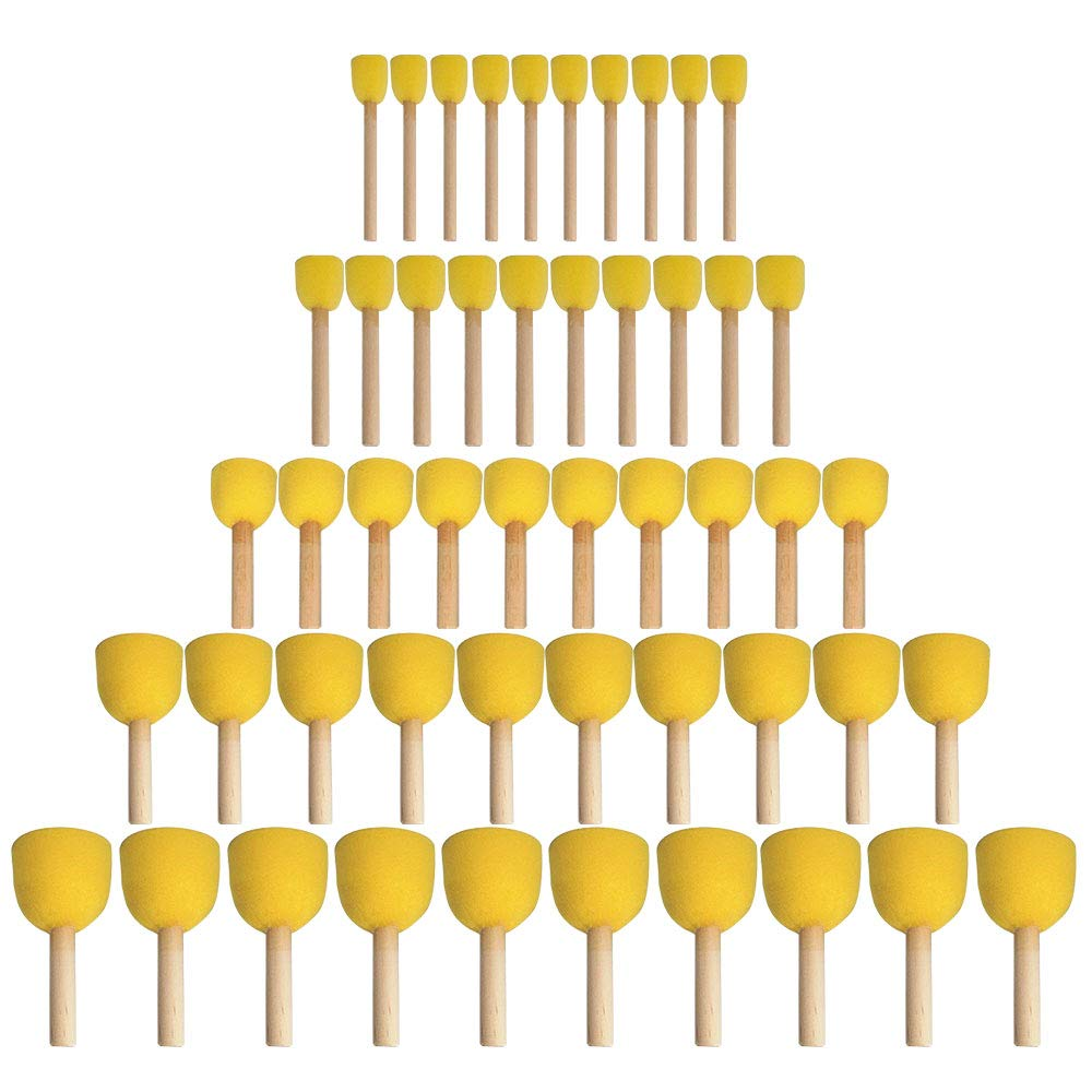 Amfor 50 Pcs 5 Sizes Round Foam Sponge Brush Set, Painting Tools for Art, Crafts and DIY Project by AmFor