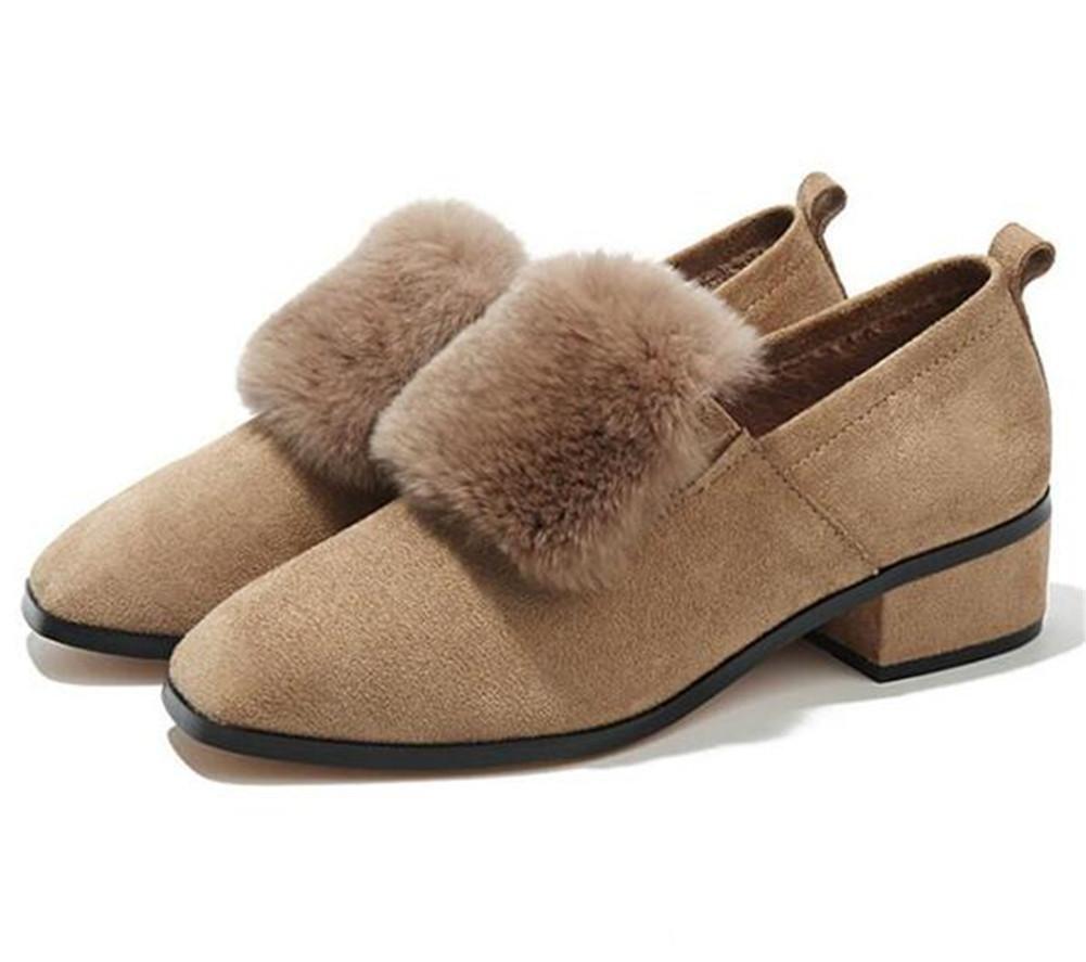Zapatos de mujer Invierno Punta cuadrada Block Heel Mocasines Forro de piel Tamaño 35 a 43 , khaki , EU40 EU40|khaki