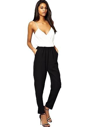 abc03370107f1 John Zack - Combinaison - Femme noir blanc  Amazon.fr  Vêtements et ...
