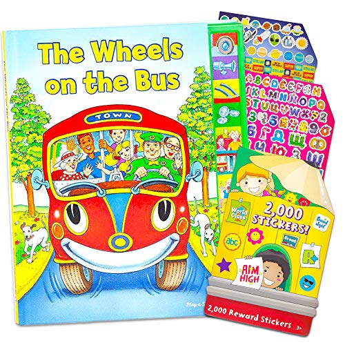 The Wheels on the Bus Book With Sound Interactive Set ~ Play a Sound Book with Over 2000 Reward Stickers