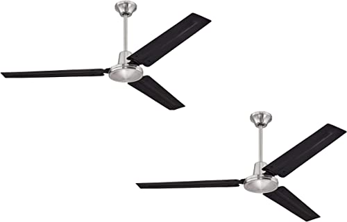 Ciata Lighting Industrial 56 Inch Three Blade Indoor Ceiling Fan, with Black Steel Blades in Brushed Nickel Finish – 2 Pack