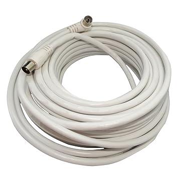 AERZETIX: 15m Cable coaxial RG6 para antena TV televisor macho derecho y hembra codo de