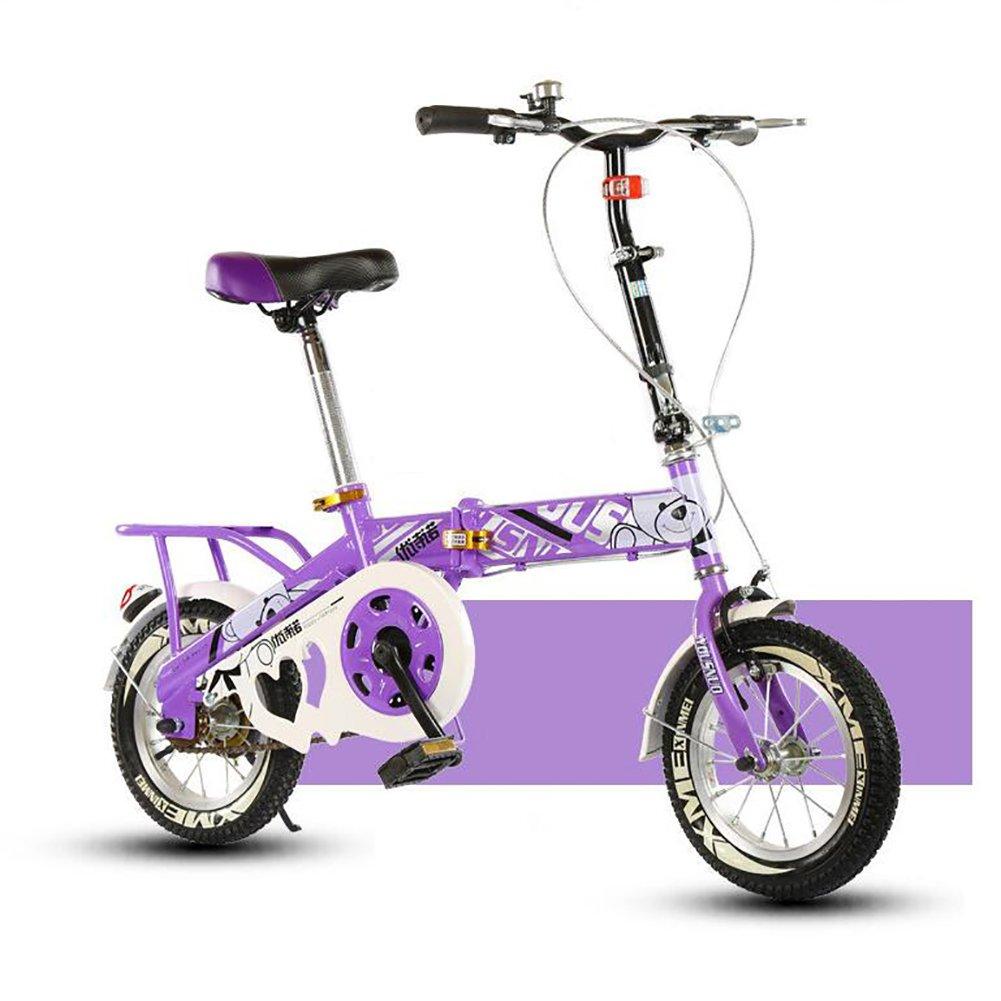 子供用折りたたみ自転車, 学生折りたたみ自転車 光ポータブル 生徒 折りたたみ自転車 6-10 年の古い B07DFHR43K 12inch|紫の 紫の 12inch