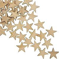 Bright Creationsin terminar de Madera Azulejos (50-Pack) - Madera inacabada Estrellas Recortes - Ideal para Bricolaje…