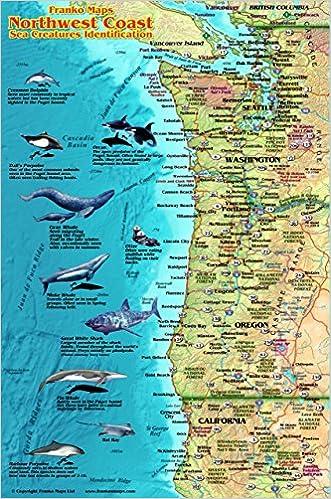 Pacific Northwest Coast Map & Sea Creatures Guide Franko Maps ...
