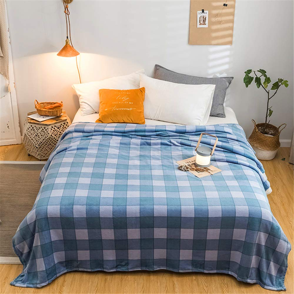 Flannel Blanket Autumn and Winter Student Dormitory Soft Skin Friendly Comfortable Microfiber Grid Blue 180200cm by iangbaoyo