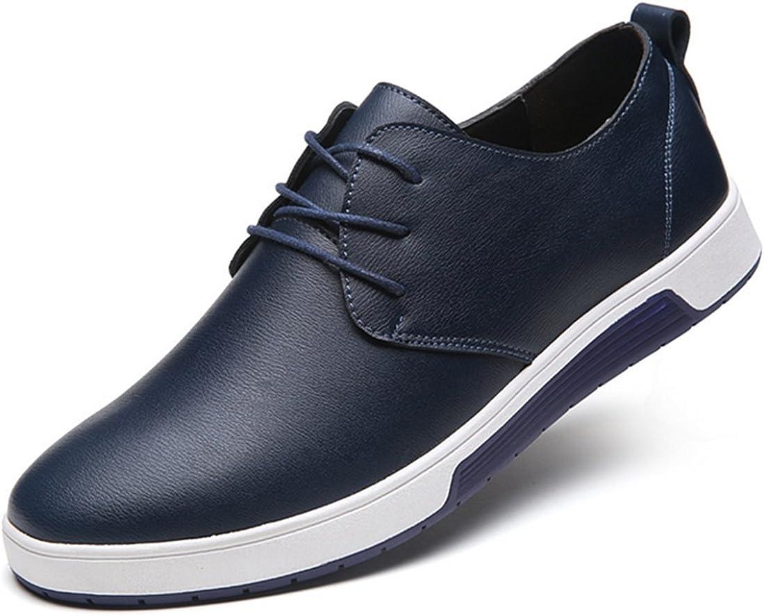 Blivener Mens Flat Casual Shoes Lace Up Oxford Blue US 6.5