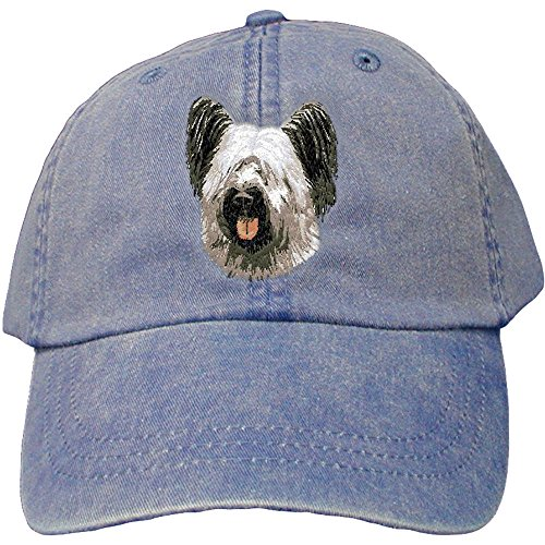 Cherrybrook Dog Breed Embroidered Adams Cotton Twill Caps - Royal Blue - Skye Terrier