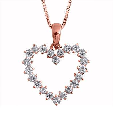 Amazon igi certified 14k rose gold heart diamond pendant igi certified 14k rose gold heart diamond pendant necklace 12 carat aloadofball Gallery