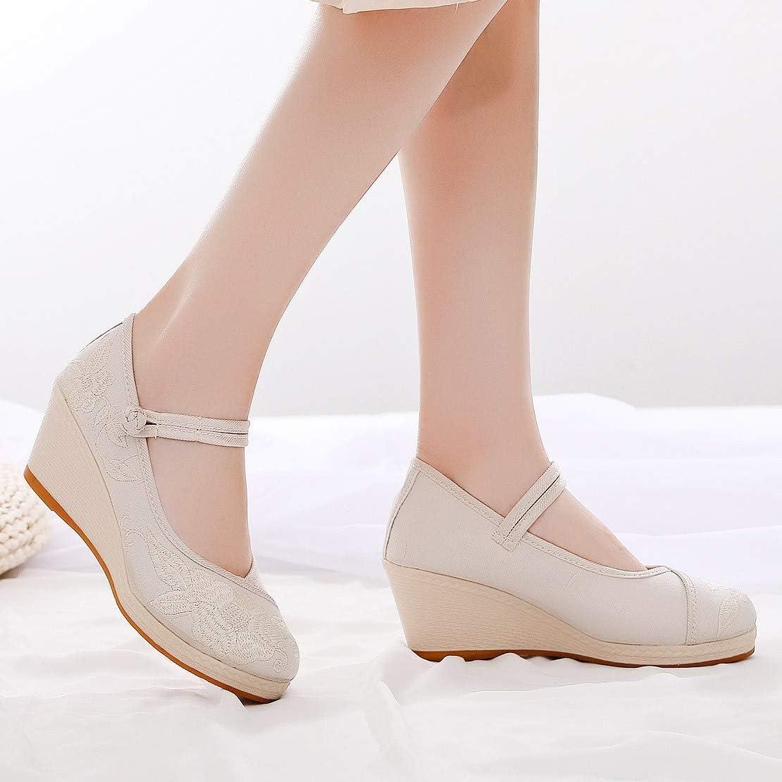 Luotuo Sandales Femmes Chaussures Sandales Semelle Confortable /à Talons Plats pour Randonn/ée Marche Pieds Larges compens/ées brod/ées en Toile pour Femmes de Style Chinois Chaussures de Sport