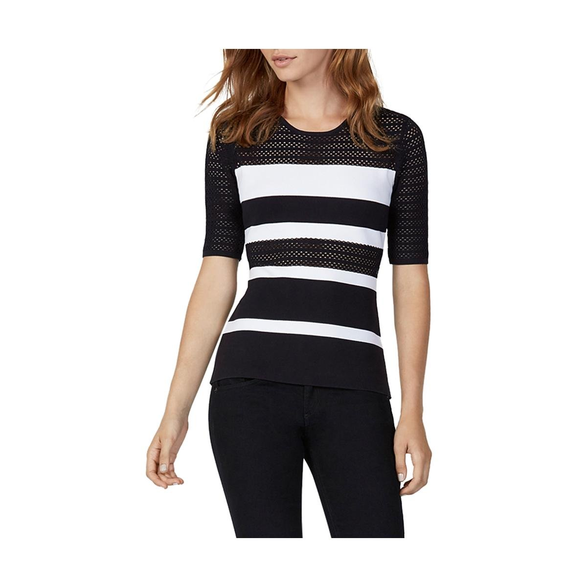 Bailey 44 Womens Pointelle Striped Pullover Sweater B/W S