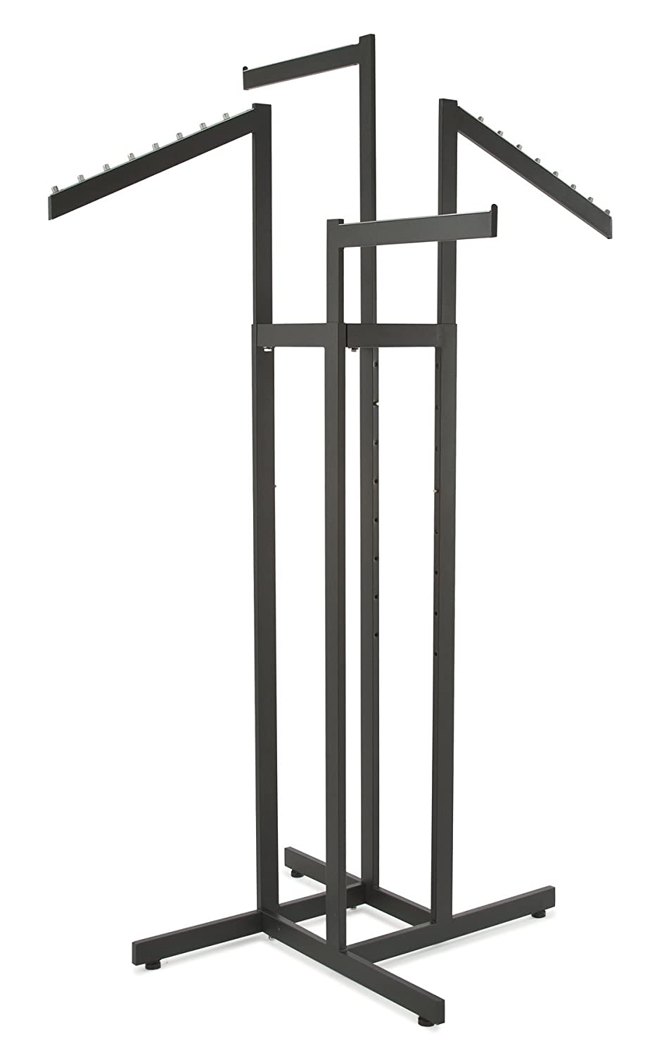 Clothing Rack 4 Way Slant Arms Black Clothes Adjustable Height Slanted Retail