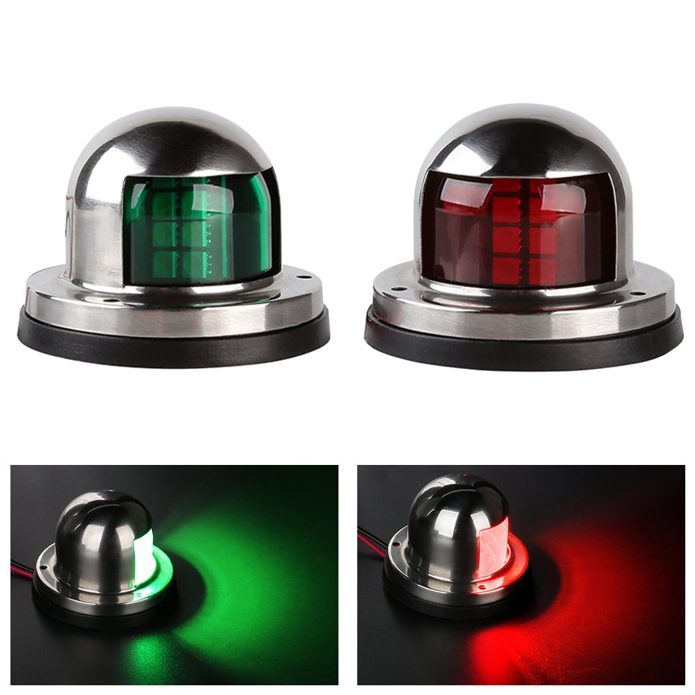 LEANINGTECH One Pair Marine Boat Yacht Light 12V Stainless Steel LED Bow Navigation Lights Pontoons Sailing Signal Lights (Red & Green)