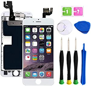 Premium Screen Replacement compatible with iPhone 6s plus 5.5 inch Full Assembly - LCD 3D Touch Display digitizer with front camera, Ear Speaker and Sensors, compatible with all iPhone 6s plus (white)