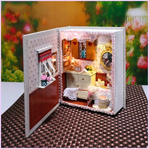 Lanlan 1PCS Mini Dollhouse DIY House Book Wood Paper Cloth Material Room with LED Furniture Decorate Kit Girl Toy Gift Girl Diary (Case Townhouse)