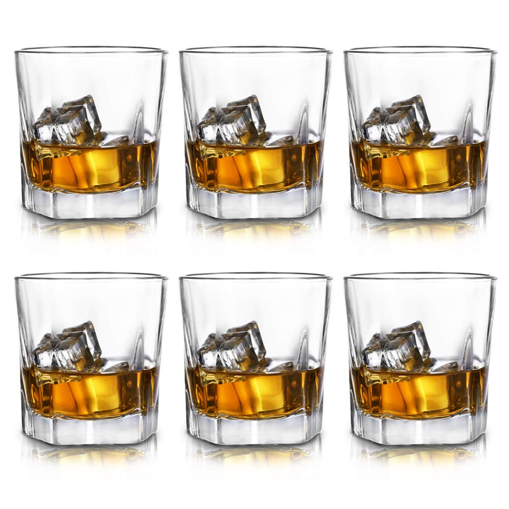 Rock Style Old Fashioned Whiskey Glasses(Set of 6),Perfect Glassware for Scotch,Bourbon and Old Fashioned Cocktail, Premium 8oz Lead Free Crystal Drinking Glasses for party/camping.